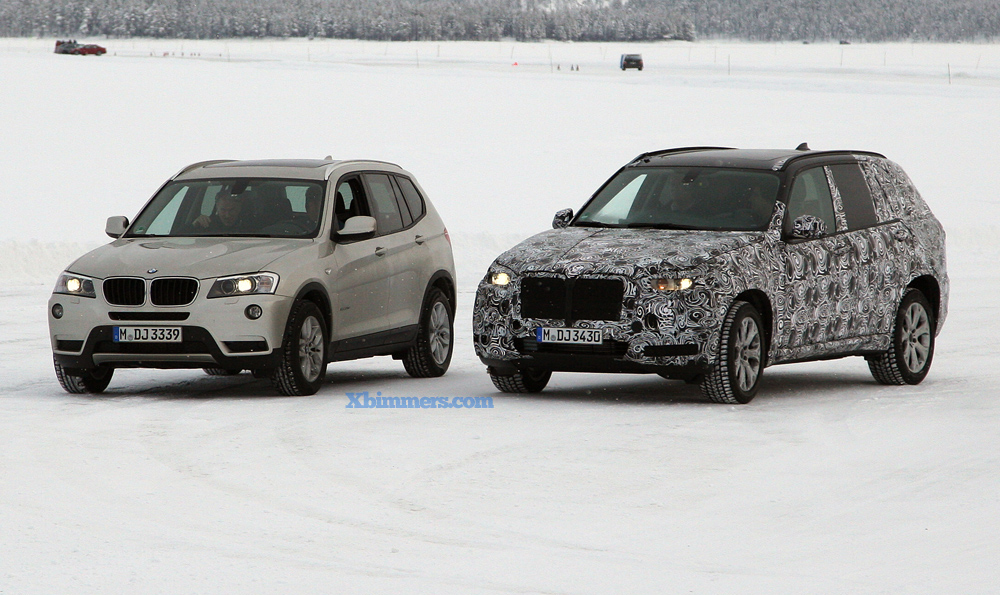 spy photos: 2014 bmw x5 (f15) compared to current x5 (e70) and x3